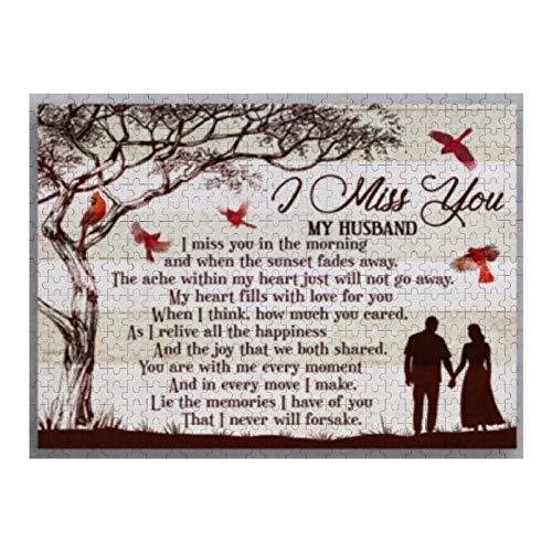 Rompecabezas de 1000 piezas I Miss You My Husband Lie The Memories I Have Of You That I Never Jigsaw Puzzles para niños, adultos, decoración del hogar, juguetes divertidos, regalos de cumpleaños
