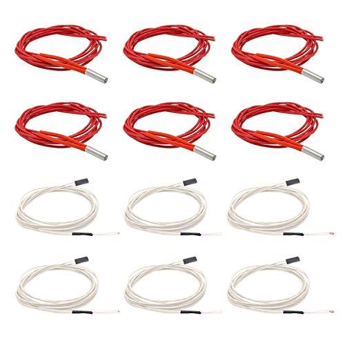 SOOWAY 6 pezzi 6 x 20 tubo di riscaldamento + 6 pezzi NTC 3950 100K termistore per stampante 3D Hotend Hot End … (24V40W)
