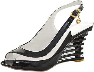 Women Back Strap Wedge Heel Sandals, NDGDA Ladies Buckle Belt Fish Mouth High Sandals Peep Toe Shoes