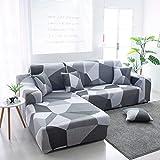 ASCV Fundas de sofá en Forma de L para Sala de Estar Material elástico sofá de Esquina Funda de Silla Funda de sofá sofá seccional A3 3 plazas