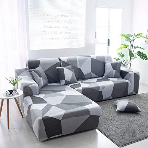 ASCV Fundas de sofá en Forma de L para Sala de Estar Material elástico sofá de Esquina Funda de Silla Funda de sofá sofá seccional A4 3 plazas