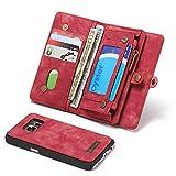 MAINTEN For la cassa della galassia S7, due In-One-multifunzionale Handmade Vintage Portafoglio in pelle di caso con la carta di credito slot machine e copertura rimovibile, Premium Zipper borsa for S
