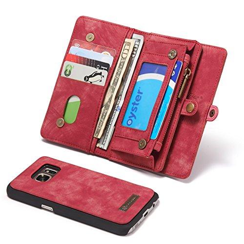 JISHIYU Cremallera Monedero for el Caso de Samsung Galaxy S7, 2-en-1 Caso...