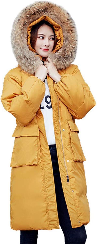 LQYRF Winter Ladies Groe Taschen Warm Abnehmbare Fellkragen Kapuzen Lange Nach Unten Jacke