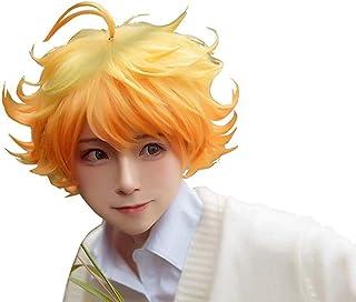 Ani·Lnc Emma Cosplay Wig Anime Yakusoku no Neverland Women Orange Cosplay Wig The Promised Neverland Emma Cosplay