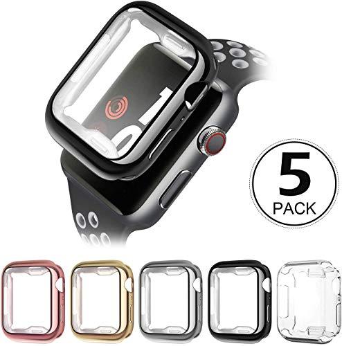 Latskgn Apple Watch Case 38mm40mm 42mm 44mm, Soft TPU Ultra-Slim Lightweight Bumper Scratch Resistant Protective Case Cover (5Pack)