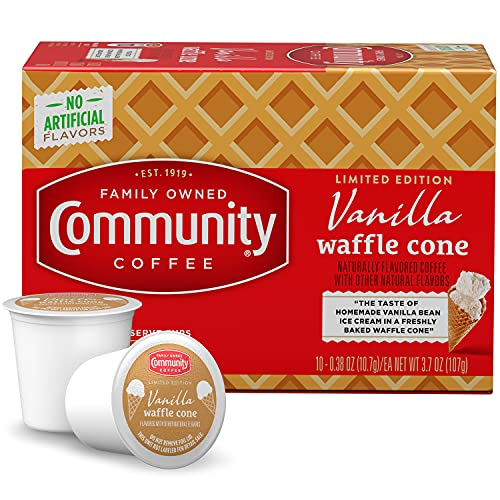 Community Coffee Ice Cream Flavored Pods Pods Compatible with Keurig 2.0 Brewers, Vanilla Waffle Cone, 10 Count