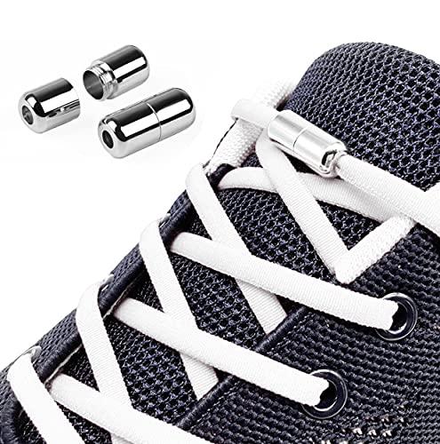 3 Pares Cordones Elásticos para Zapatillas, Cordones Elásticos Sin Nudo con Hebilla Metal para Zapatos Cordones de Zapatos Redondos para Niños,Adulto,Ancianos,Corredores 105cm 4.5mm Blanco