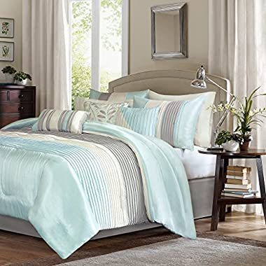 Madison Park Amherst Queen Size Bed Comforter Set Bed In A Bag - Aqua, Ivory, Grey, Pieced Stripes – 7 Pieces Bedding Sets – Ultra Soft Microfiber Bedroom Comforters
