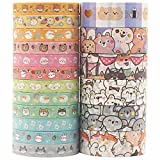 YUBX Cute Pets Washi Tape Set 18 Rolls Gold Embellishment Decorative Masking Tapes for Arts, DIY Crafts, Bullet Journals, Planners, Scrapbook, Wrapping