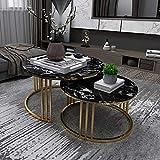 LCNING Mesa de té Redonda nórdica - Juego de Mesa de mármol anidados de 2 - Mesa de Centro de Marco de Metal de Oro, for Sala de Estar/apartamento pequeño/sofá