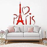 Etiqueta de la pared de la torre de París vinilo amor corazón Europa viajes románticos hogar arte etiqueta de la pared accesorios de decoración de dormitorio-30x32cm