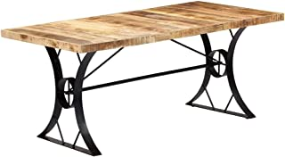 Tidyard Table de Salle à Manger en Bois de Manguier Massif Fabrication à la Main Style Industriel 180x90x76 cm