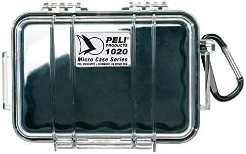PELI 1020 petit boîtier étanche IP67 pour les sports nautiques et de plein air, capacité de 0,5L, fabriqué aux États-Unis, doublure transparente/noire