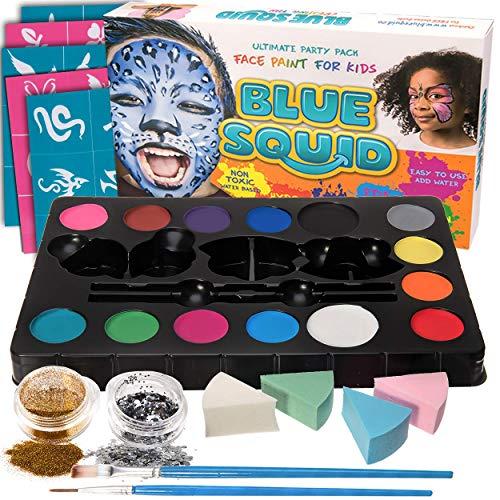 Blue Squid Face Paint Kit for Kids - 52 Pieces, 14 Colors, 2 Glitters, 30 Stencils, 4 Makeup Sponges, Face Paint Party Supplies - Safe Facepainting for Sensitive Skin - Professional Costume Makeup