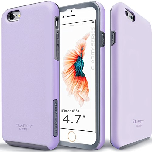 TEAM LUXURY [Clarity Series] Case for iPhone 6 & 6s, Purple Ultra Defender Shock Absorbent Slim-fit Premium Protective Phone Case - Lavender/Gray
