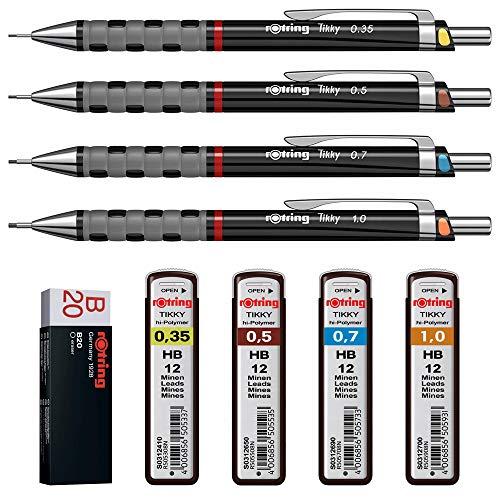 rOtring Tikky 4er Set mit Colourcode 0,35 / 0,5 / 0,7 /1,0 mit Ersatzminen HB und Radierer B20