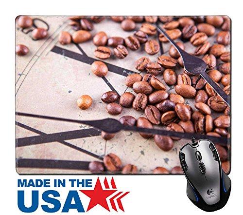 MSD Naturkautschuk Maus Pad/Matte mit genähte Kanten 9,8x 7,9Vintage Bild von Uhr und Kaffee Bohnen verstreut Bild 20786474