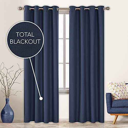 Deconovo Total Blackout Curtains 96 Inch Long for Sliding Glass Door Composited Thermal Insulated Light Blocking Window Drapes 52x96 Inch Navy Blue 2 Panels