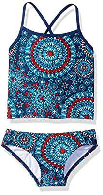 Kanu Surf Girls' Big Beach Sport 2-Pc Banded Tankini Swimsuit, Melanie Red/White/Blue, 10