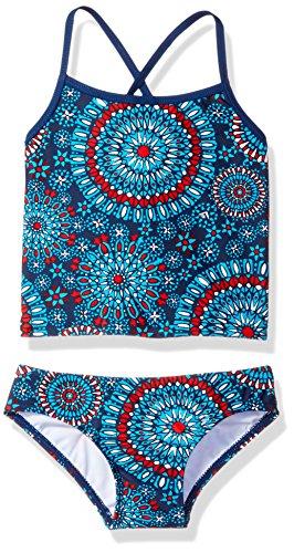 Kanu Surf Girls' Big Beach Sport 2-Pc Banded Tankini Swimsuit, Melanie Red/White/Blue, 14