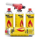 Bunsenbrenner Lötbrenner Vulcano Gasbrenner Gasanzünder Lötlampe mit Piezozündung für Gaskartuschen (Lötbrenner mit 4 Kartuschen)