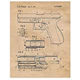 Vintage Glock Gun Patent Poster Prints, Set of 1 (11x14) Unframed Photo, Wall Art Decor Gifts Under 15 for Home, Office, Studio, Garage, College Student, Teacher, Cowboys, Action Movies & NRA Fan