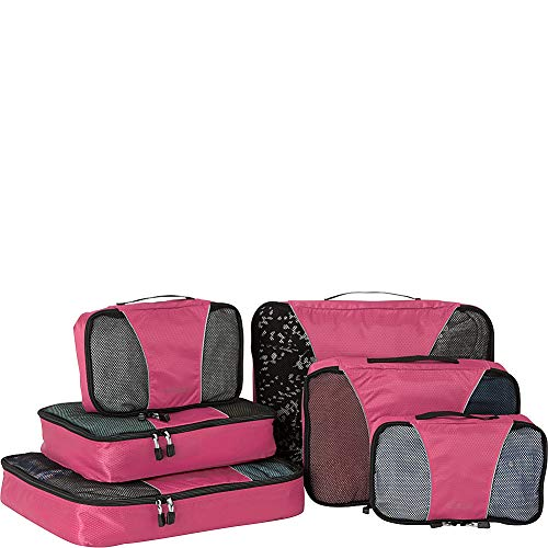 eBags Classic Small/Medium/Large Packing Cubes for Travel - 6pc Sampler Set - (Peony)