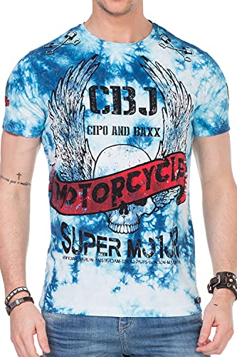 Cipo & Baxx Herren T-Shirt Motorcycle Prints Logo Bikershirt Allover-Druck CT458 Blau L