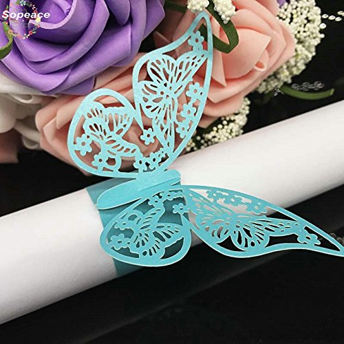 Serviettenringe aus Papier, Schmetterling, lasergeschnitten, für Partys, Hochzeiten, Tischdekoration, Blau, 50 Stück