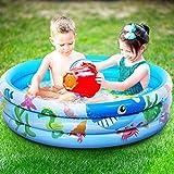 iBaseToy Piscina inflable para niños de 120x28 cm, 3 anillos círculos piscina para bebés para fiestas de verano en el agua, piscina familiar para exteriores jardín patio trasero para mayores de 3 años