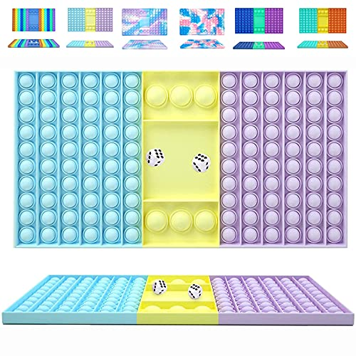 KFGJ Big Pop It Fidget Toy, Juguete sensorial para aliviar el estrés de Burbujas de Gran tamaño, Tablero de ajedrez con Burbujas de Empuje de Dos Jugadores, para Padres e Hijos A7