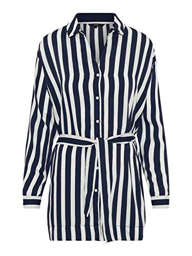 Vero Moda Camisa Mujer L Azul Marino 10210399 VMSTINNA LS Long Shirt Night Sky Snow White