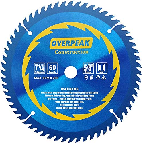 OVERPEAK 7-1/4inch Circular Soft&Hard Wood Cutting Saw Blade 60 Tooth Saw Blades with 5/8-Inch Arbor and PermaShield Coating