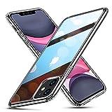 ESR iPhone 11 ケース ガラスケース 強化ガラス+TPUバンパーアイホン11 カバー 【9H硬度加工 薄型 全透明 黄変防止 安心保護 耐衝撃 ワイヤレス充電対応 安心保護】ストラップホール付き 6.1インチ iPhone 11 專用スマホケース(クリア)
