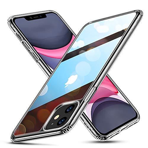 ESR - Cover in vetro trasparente per iPhone 11, antigraffio, retro in vetro antigraffio 9H, telaio in silicone TPU e morbido bumper – Custodia protettiva antiurto per iPhone 11 – trasparente
