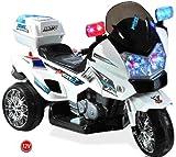 Mondial Toys Moto ELETTRICA CAVALCABILE Giocattolo per Bambini 12V Super Police con...