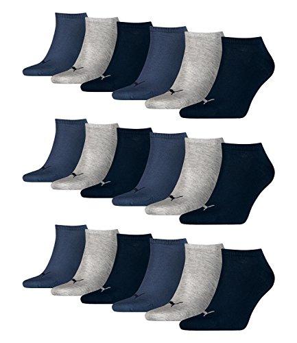 6 Paar Puma Sneaker Invisible Socken Gr. 35 - 49 Unisex für Damen Herren Füßlinge, Farbe:532 - navy/grey/nightshadow b;Bekleidungsgröße:L