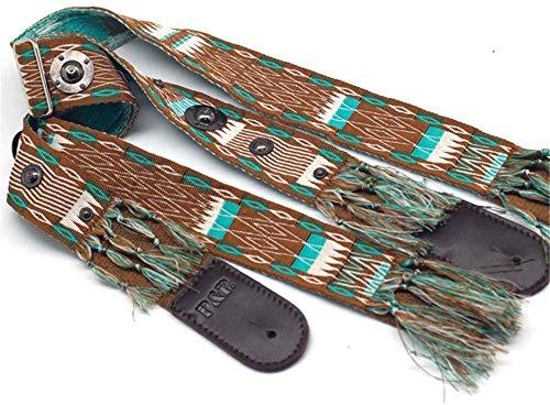 LILAODA Gitarrengurt Indische Boho-Gitarre aus gewebter Baumwolle mit Nappalederarmband und Metallniet Dekoration für Männer Frauen Kinder Akustikgitarren und E-Bass-Freie Größe_EIN Perfect