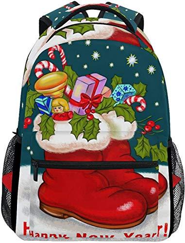 MODORSAN Mochila escolar informal Feliz año nuevo Botas navideñas Mochila de viaje ligera Mochila universitaria para mujeres niñas adolescentes