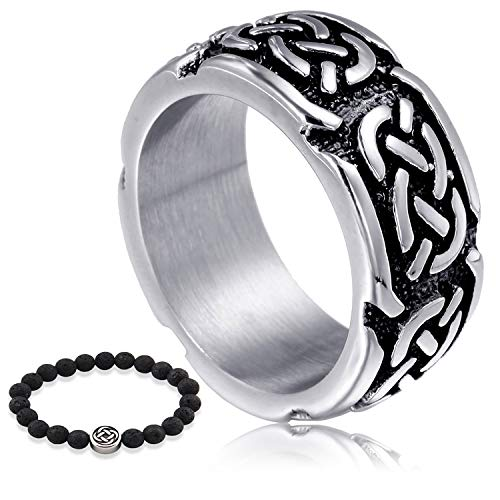 GUNGNEER Stainless Steel Interwoven Celtic Knot Engagement Ring Wedding Band Trinity Jewelry Accessories Men Women