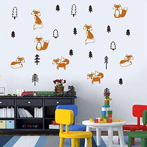 Leeypltm Mooie vosmuurstickers, waterdichte muursticker, afneembaar, moderne muurdecoratie, stickers uitgangsdecoratie, kan als verjaardagscadeau worden gebruikt