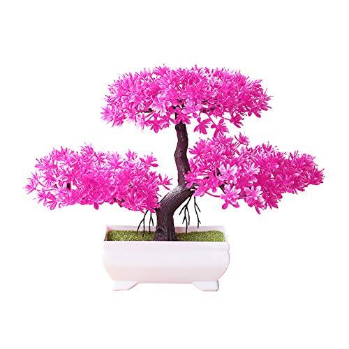 ekqw015l Artificial Bonsai Tree - Fake Plant Decoration,Welcoming Pine Bonsai Simulation Artificial Potted Plant Ornament Home Office Bathroom Home Kitchen Bookshelf Garden Decor Pink