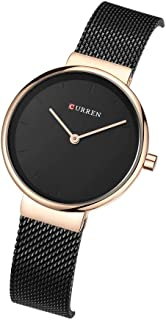 CURREN 9016 Women Quartz Watch Fashion Simple Stainless Steel Ladies Wristwatches (rose gold black)
