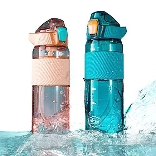 Bottiglia per Bere con Cannuccia da 750 Ml in Plastica Tritan Non Tossica Senza Bpa, Manico in Silicone Antiscivolo e Antiperdite e Misure Dell'Acqua, All'Aperto All'Aperto Campeggio Sportivo