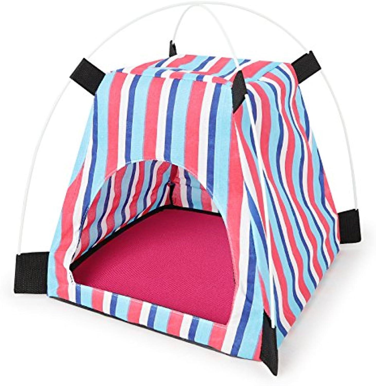Fashion Waterproof Dog Tent Stripe Puppy Small Medium Pets(pink)