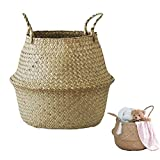 Handmade Woven Rattan Seagrass Tote Belly Basket, Plant Pots Cover Indoor Decorative, Also for Storage, Laundry, Picnic and Garden Flower Vase (Small, Natrual)