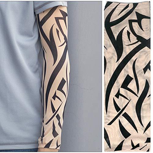 Handaxian 4pcsTattoo Arm warmen Anzug Nahtlose Ärmel Männer und Frauen Fahren EIS Seide Sonnencreme 4pcs-1