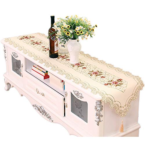 Dreamdge Beige Pink Kitchen Table Runner 40x250cm, Polyester Embroidery Flower Table Runners