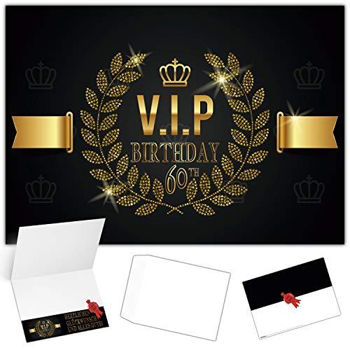 A4 XXL 60. Geburtstag Karte VIP 60th BIRTHDAY mit Umschlag - edle Geburtstagskarte Glückwunschkarte zum 60 Geburtstag für Mann Frau von BREITENWERK